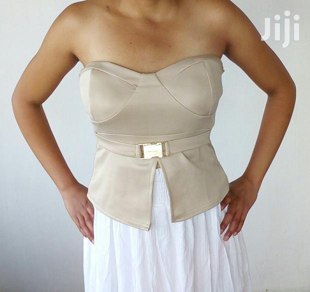 Archive: Brown Strapless Top With Belt Size 10UK