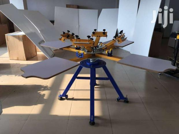 Hand 4 Color 4 Station Carousel Screen Printing Machine For Clothes,